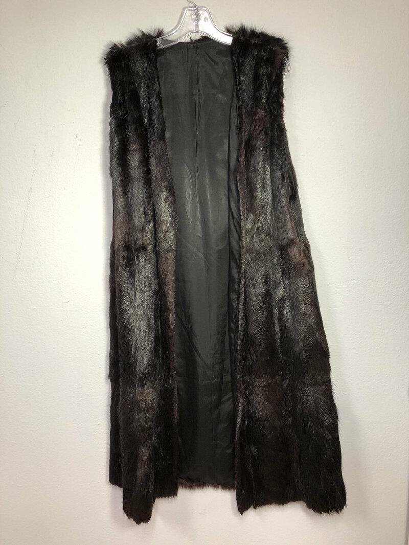 Buy Brown women's fur vest from nutria fur soft fur stylish long vest winter vest vintage vest old vest warm vest retro style has one size.