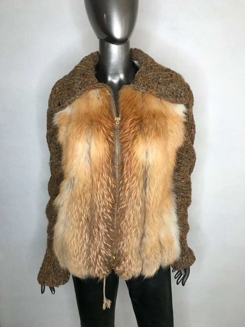 Buy Red Fox Fur Jacket Short Womens with knitted sleeves and a collar straight silhouette warm fur jacket size is medium.
