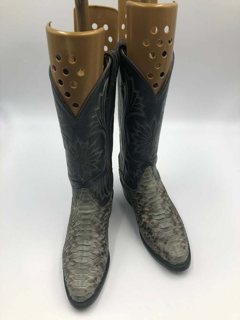 Buy Cowboy Boots Women's Blue Green Python Leather Western style decorated embroidery unique boots in good used condition women's size 6 1/2 .