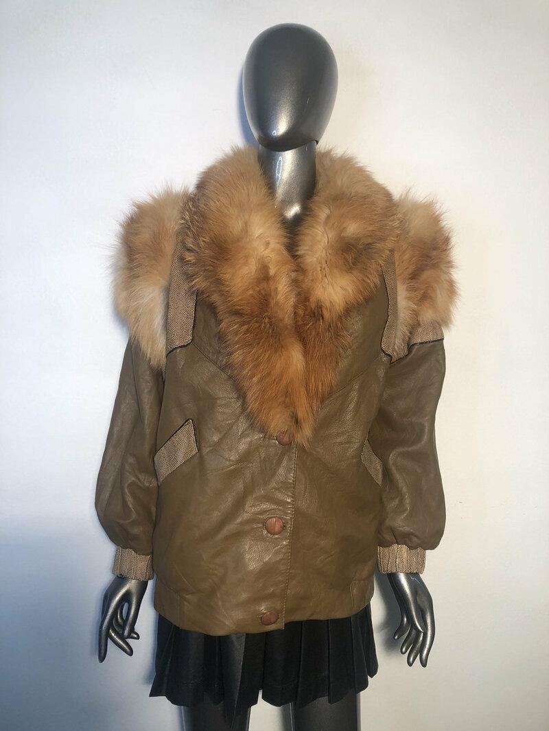 Buy Brown women's jacket from real leather&fur fox collar warm jacket vintage jacket Burning Man style steep streetstyle jacket has size-medium.