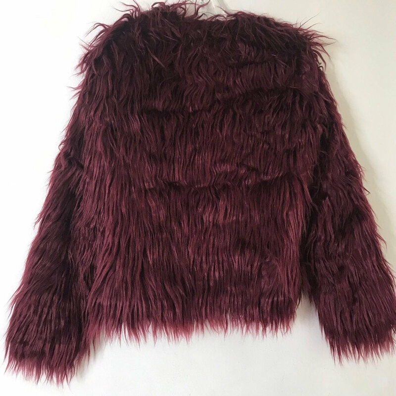 Faux Fur Jacket  Womens Burgundy colors original fluffy beautiful in the youth style straight silhouette womens size medium.