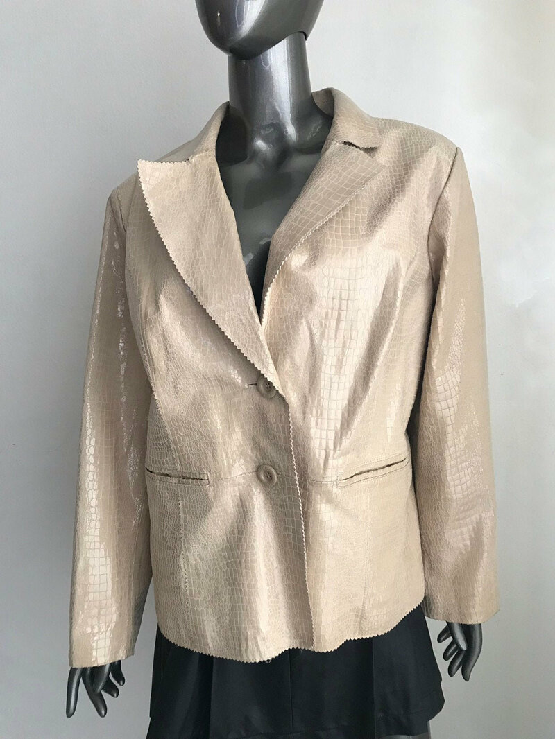 Buy Brilliant Mid Length Vintage Beige Genuine Soft Leather With Snake Print women's Size Extra Large.