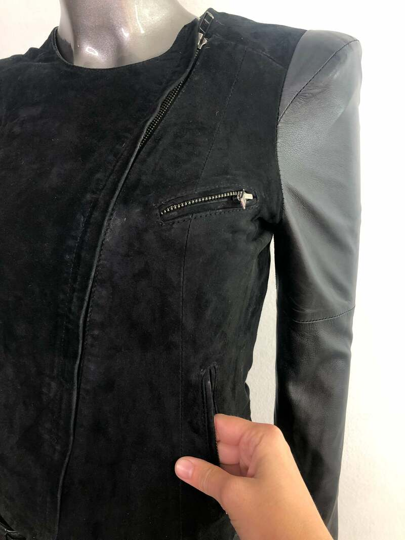 Black women's jacket made from real leather & suede casual jacket short jacket steep jacket vintage jacket retro style has size-extra small.