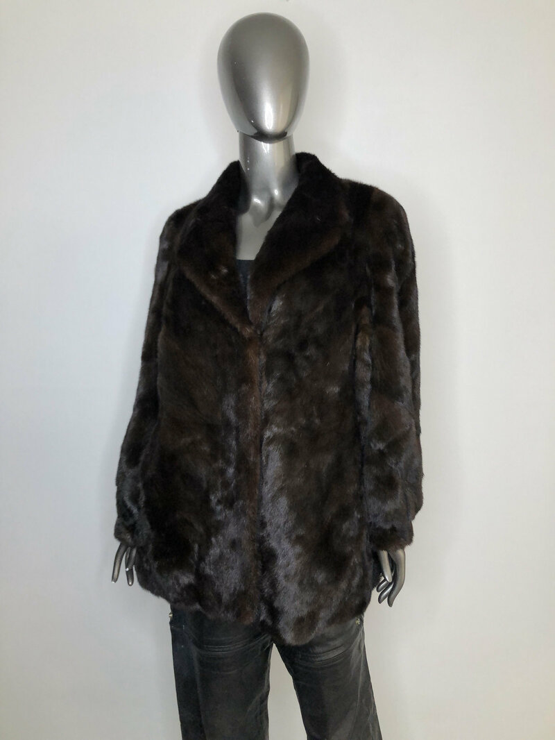 Buy Mink Fur Coat for Womens Short Vintage made of fur noble brown color of an flared silhouette with a English collar size is medium.