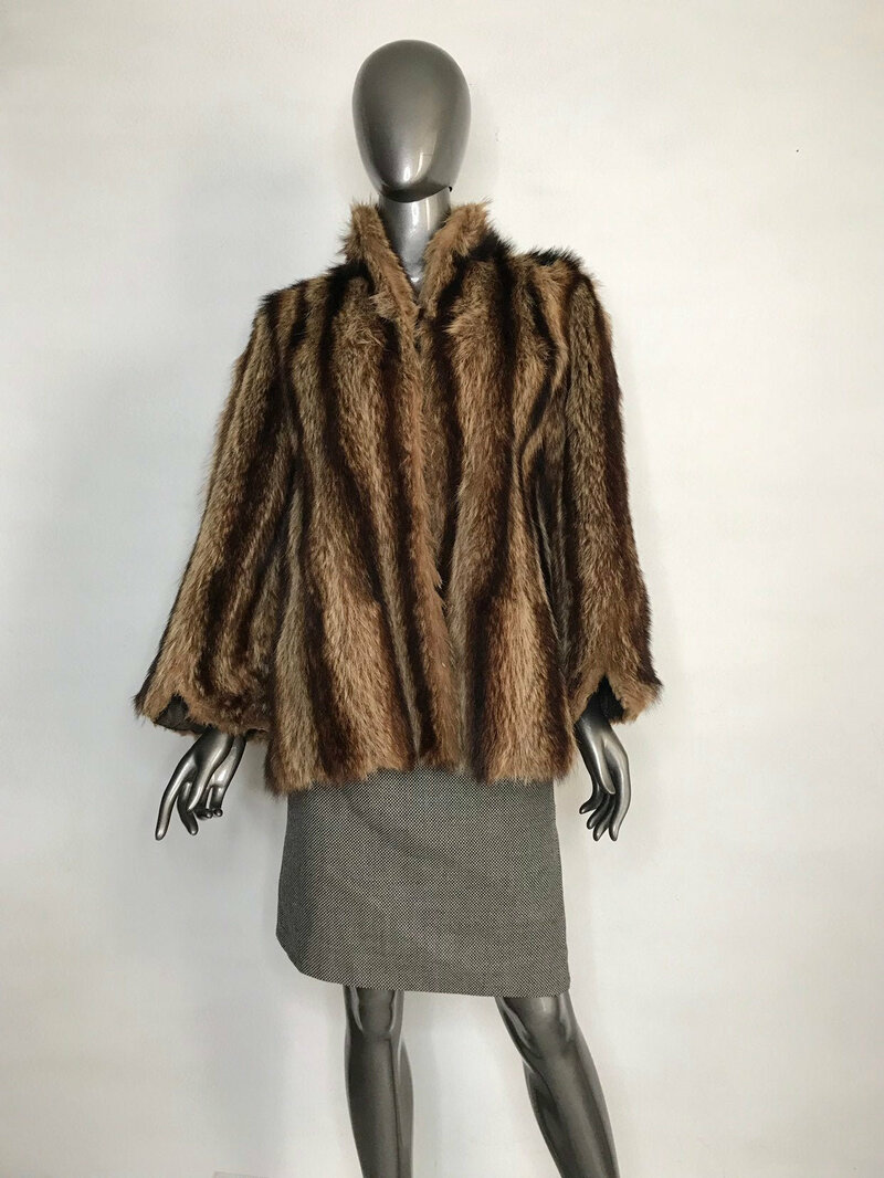 Buy Brown Vintage Beaver Fur Coat Fluffy Short with small collar with design from stripes womens size medium.