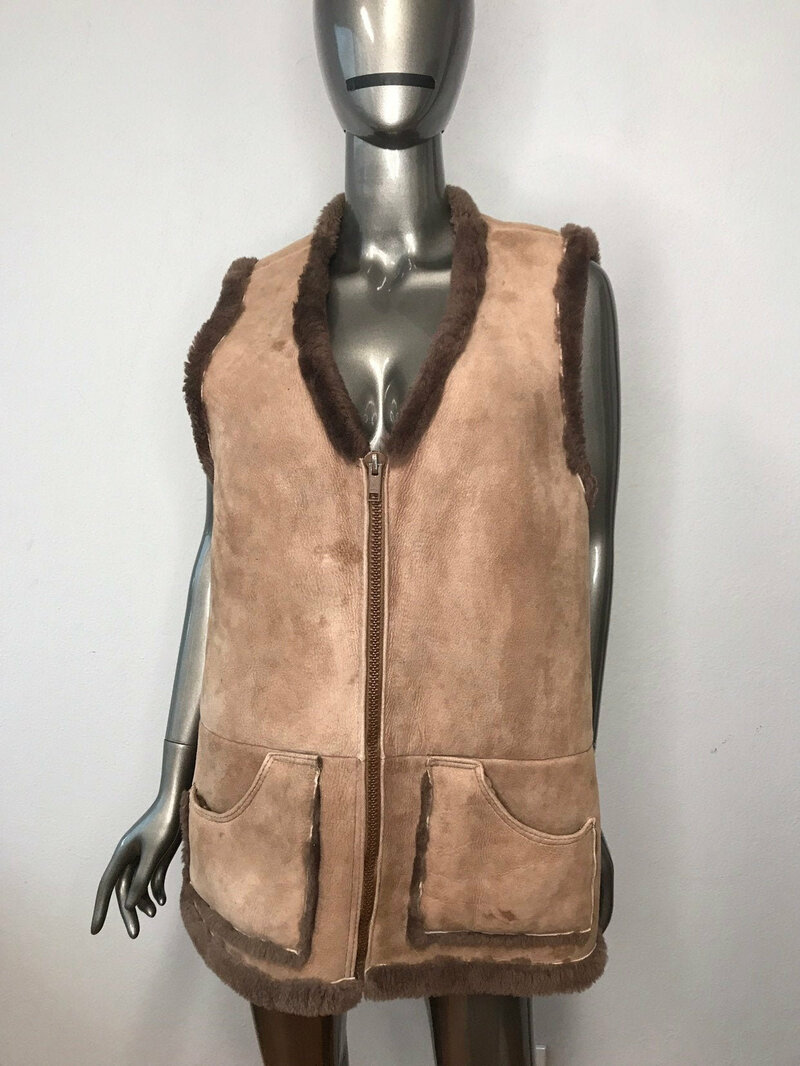 Buy Sheepskin Vest Womens Vintage Brown Warm retro style fastened with a zipper with two big pockets womens size medium .