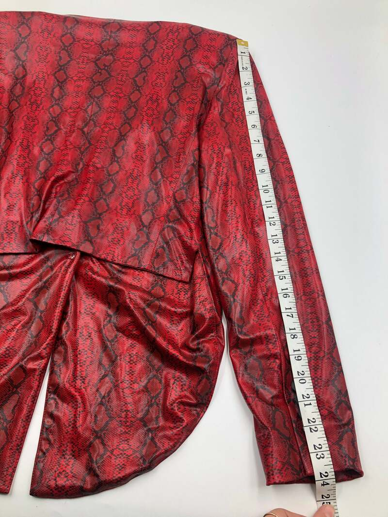 Red women's tailcoat made from cotton blend with snake print evening tailcoat party jacket vintage tailcoat show style has size-small.