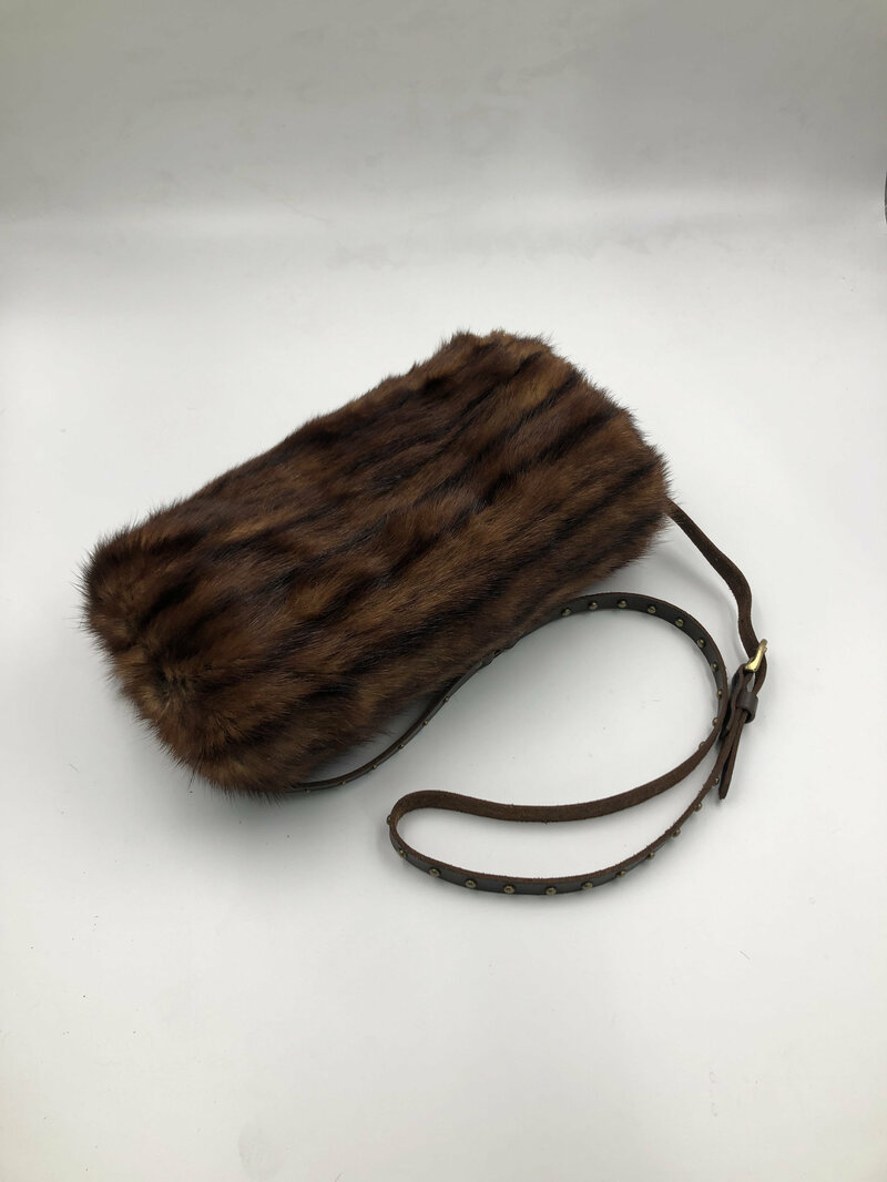 Buy Brown winter mink fur muff with regular belt handmade.