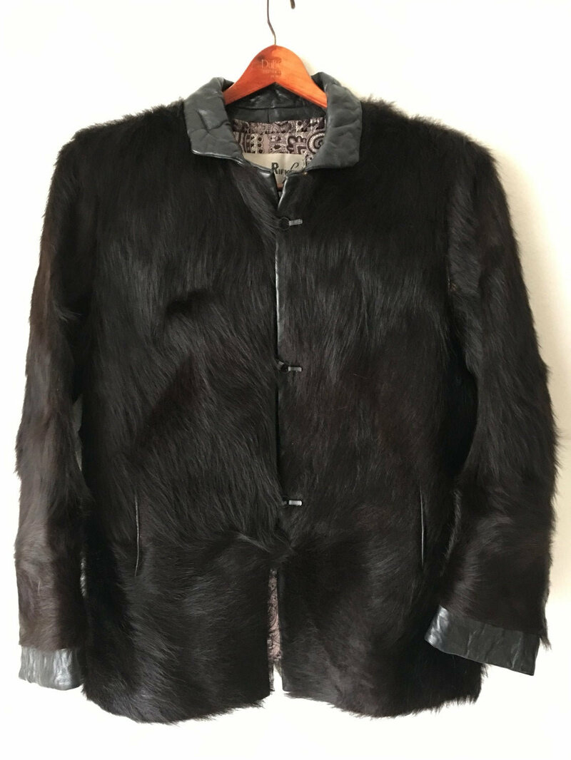 Buy Black Men's Coat real buffalo fur casual coat classical coat warm coat with collar short coat vintage coat graceful winter coat size-medium.