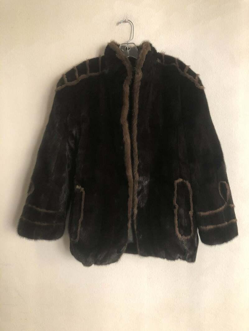 Buy Mink Fur Coat Brown Womens two sided short fur coat elegant classic leather jacket womens size medium.