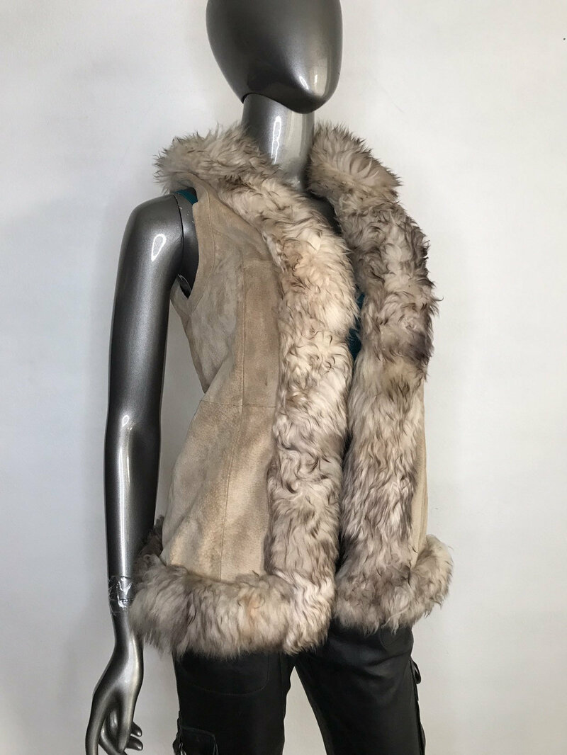 Buy Beige Women's Vest from real suede and fur soft fur short vest vintage vest fashionable vest streetstyle vest warm vest has size-small.