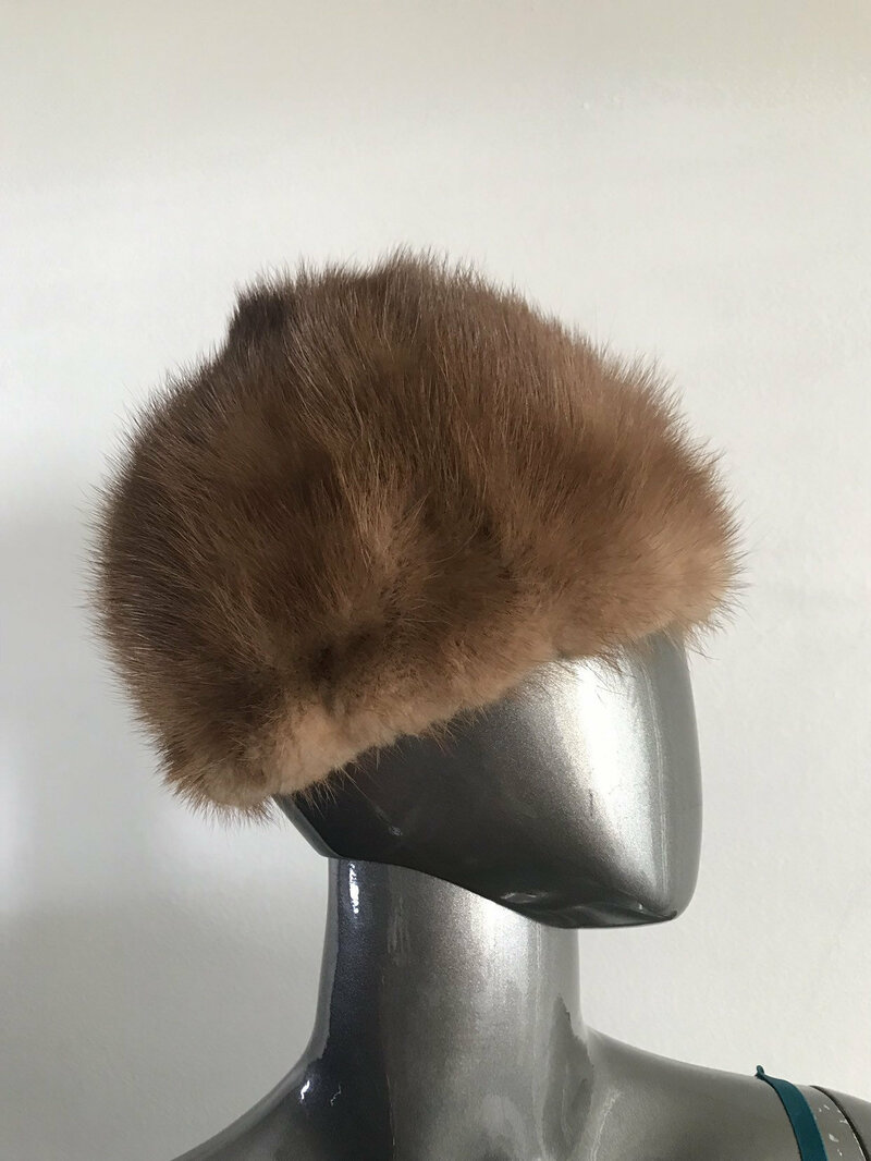 Buy Brown hat from real mink fur casual hat classical hat warm hat winter hat beautiful hat vintage hat streetstyle hat retro hat size - small.