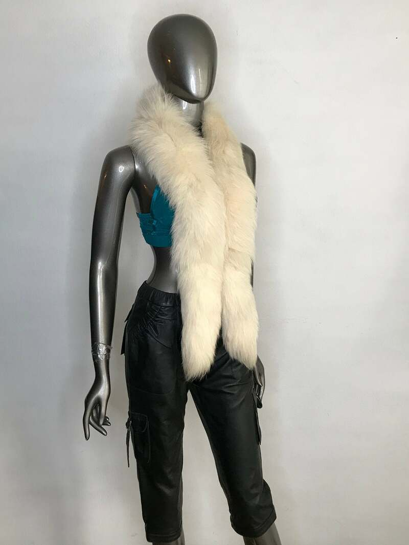 Buy Cream womens collar from real polar fox fur festive look cinema style vintage old long collar retro style collar for wedding, has one size.