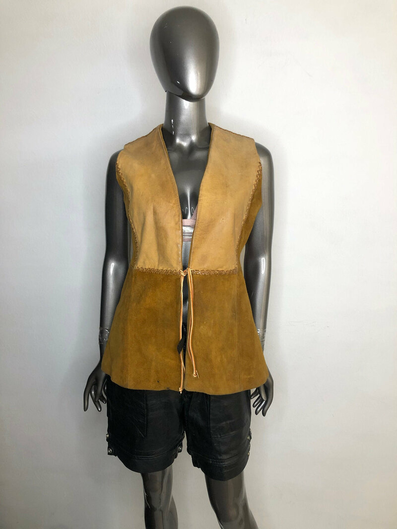 Buy Orange Women's vest real suede western vest cowgirl vest casual vest streetstyle vest vintage veat retro style orange color has size-medium.