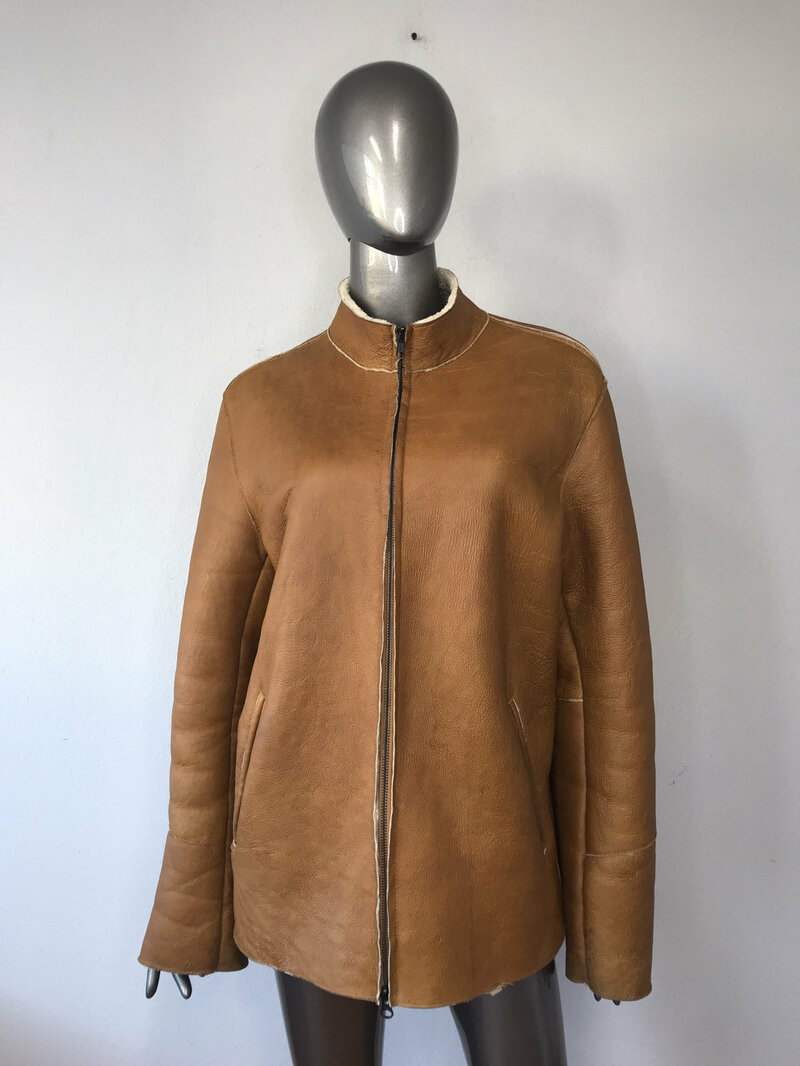 Buy Sheepskin Coat Sporty Style Brown Mens warm fastened with a zipper free form with stand collar and pockets mens size medium.