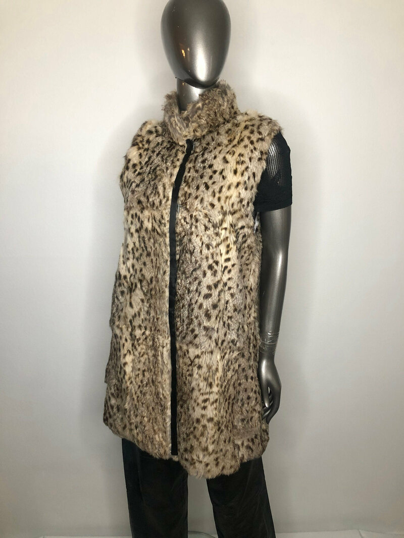 Buy Rabbit Fur Vest with Leopard Print Warm vest straight silhouette fastened on hooks with stand collar Burning Man style womans size small.
