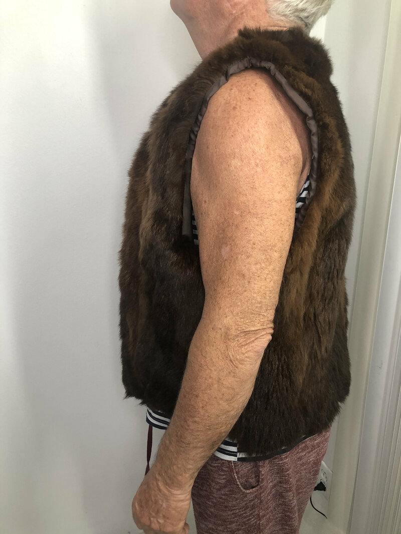 Buy Sheepskin Fur Vest Brown Women's free form warm practical vintage vest men's size medium women's size  large.