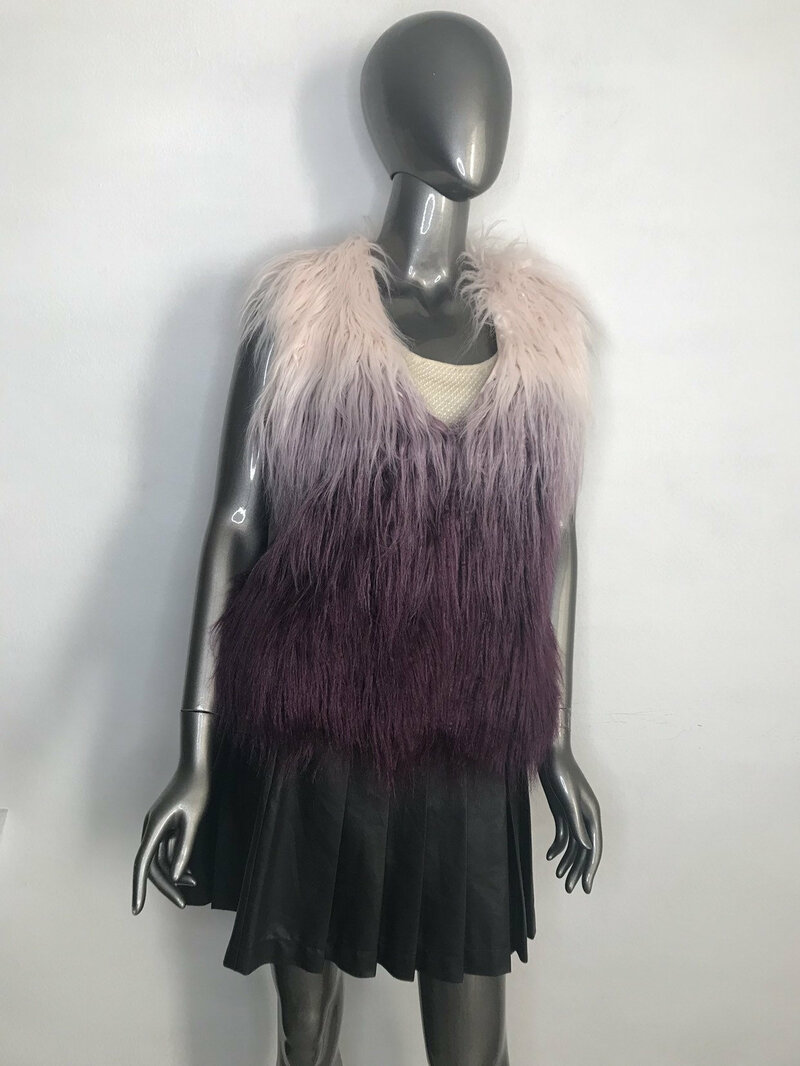 Buy Faux Fur Vest Womens Pink violet original vintage fluffy vest youth style womens size small.