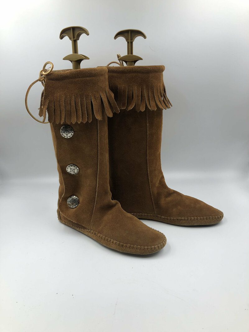 Buy Brown Women's boots real suede vintage boots long boots western style boots with fringe & metal inserts streetstyle brown color size 9 1/2.
