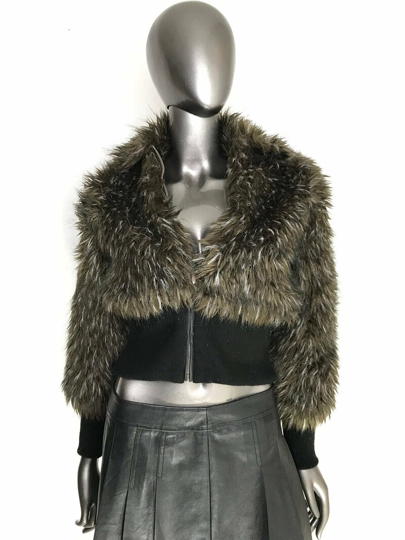 Buy Faux Fur Jacket Youth Style  with cozy stand collar with pockets with cuffs and bottom from black knitwear womens size small.