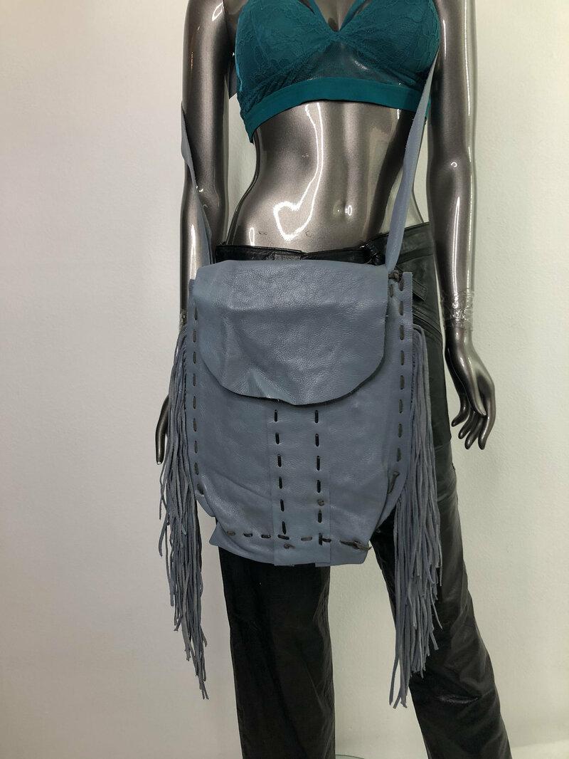 Buy Light Blue Women's Handbag real leather soft leather fashionable bag fringe handbag handmade bag designer bag stylish bag has size - large.