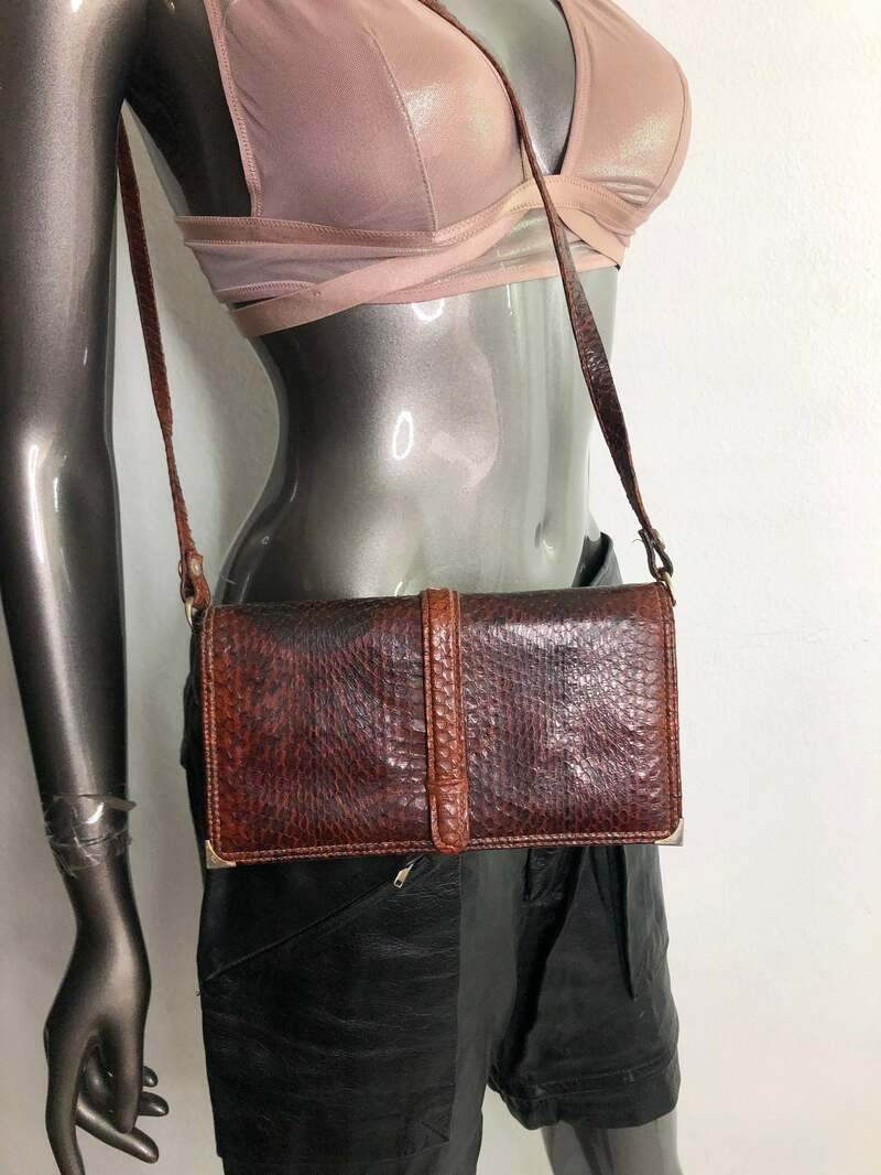 Buy Brown Leather Bag from real snake leather shoulder handbag original fashion streetstyle bag coctail party bag vintage bag has size-small.
