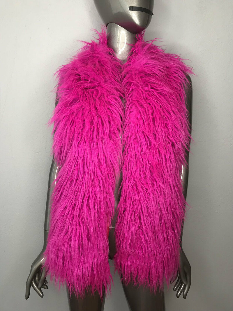 Buy Pink Vest from Faux Fur Womens original fluffy beautiful vest in the youth style womens size medium.
