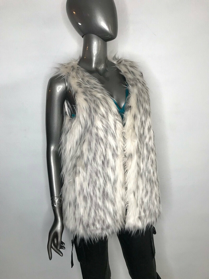 Buy Vest White Faux Fur Fashion Women's Animal print fluffy cozy warm for everyday clothes women's size extra small.