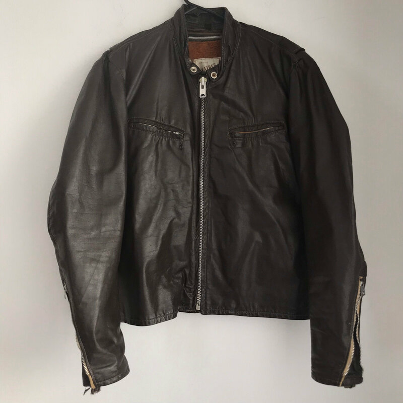 Buy Brown men's jacket from real leather motorcycle jacket short jacket streetstyle jacket vintage jacket rocker style steep jacket size-medium.