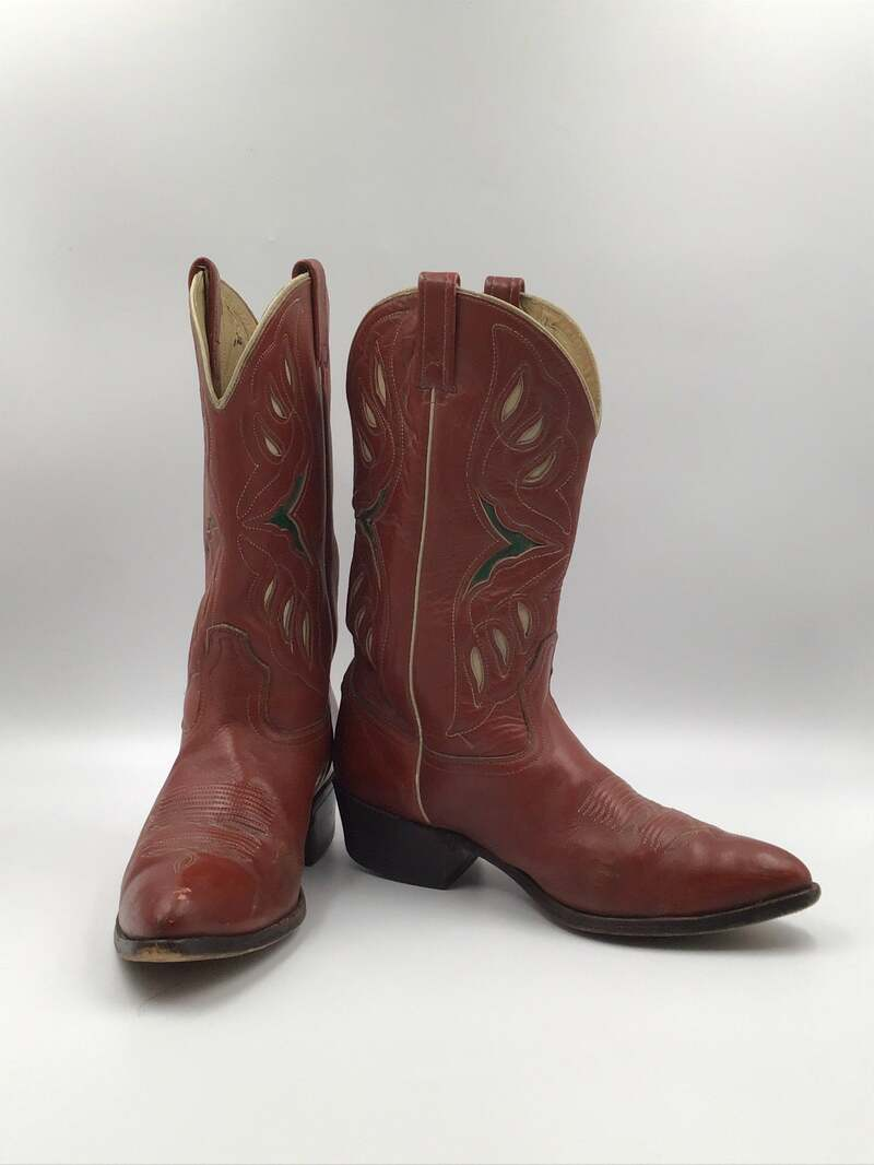 Buy Red men's boots from real leather with perforation, vintage embroidered with unique pattern western style cowboy boots streetstyle size 12D.