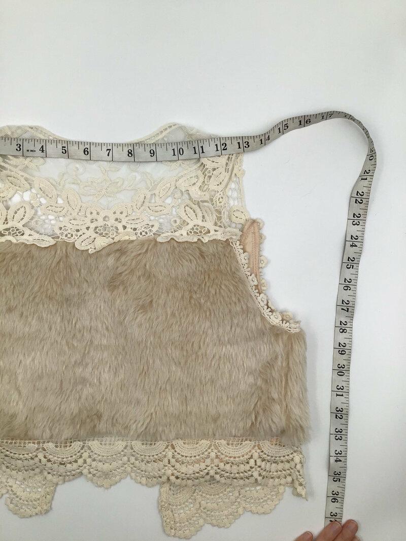 Beige faux fur jacket with laces size S