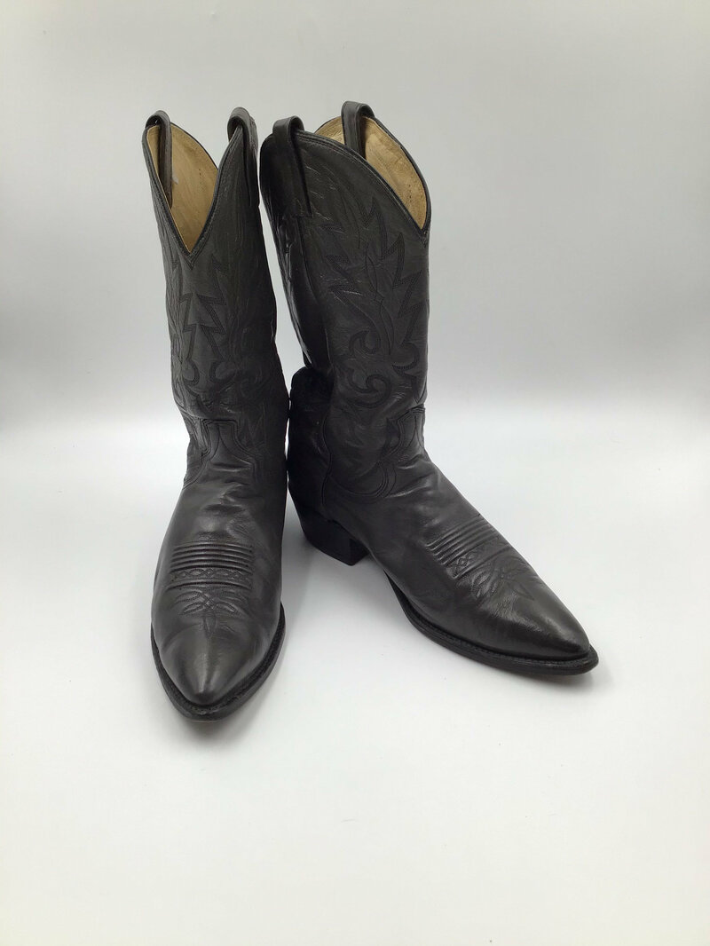 Buy Dan Post gray men's boots from real strong leather vintage embroidered with unique pattern western style cowboy boots has size 10 1/2D.