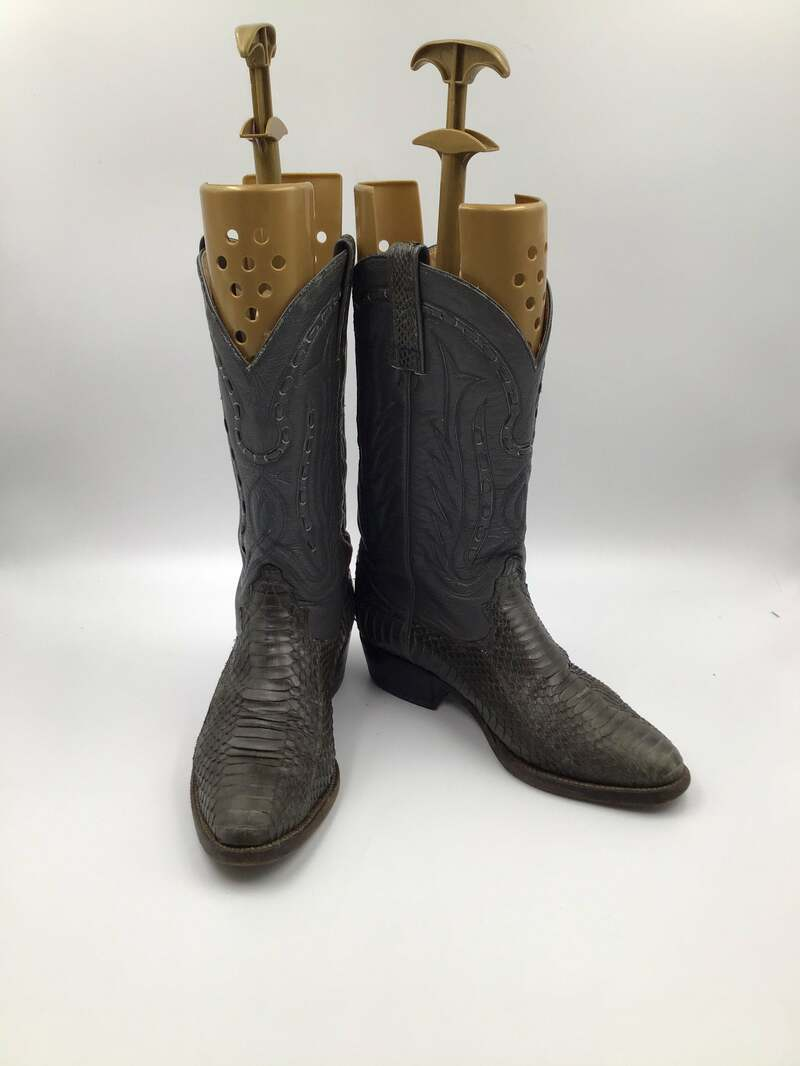 Buy Dark gray men's boots from real python leather vintage boots embroidered with unique pattern western style cowboy boots has size 10 1/2.