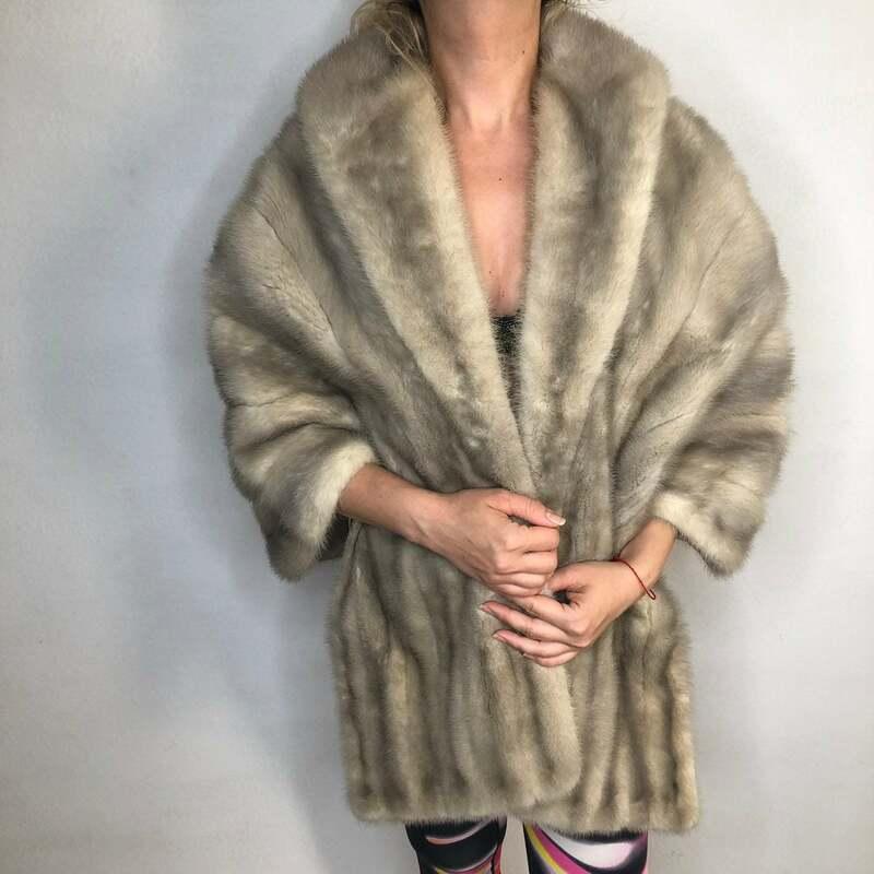 Buy Mink Fur Bolero Women's Gray Vintage festive look warm retro style made by Sam Siegel Chicago universal size.
