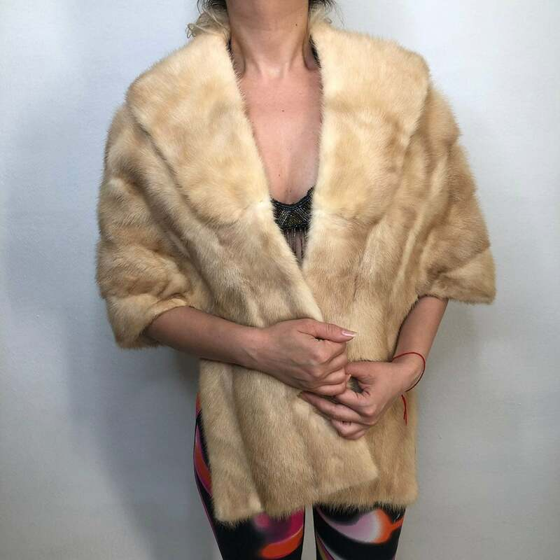 Buy Womens Mink Fur Bolero Retro Style fluted design festive look vintage  light beige color bolero has size universal.