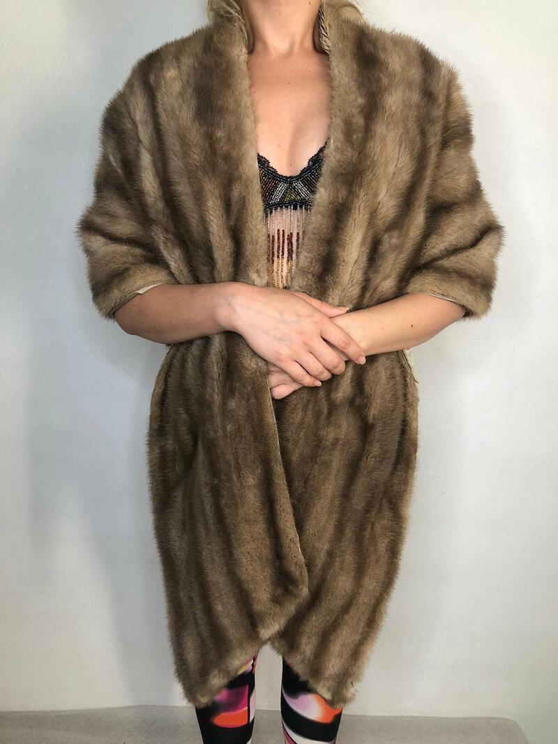 Buy Gray Mink Fur Bolero Women Vintage festive look warm retro style made by Shuman Boston universal size.