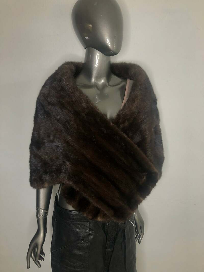 Buy Mink Fur Bolero Brown Color Women vintage bolero of festive look for special events in good condition universal size.