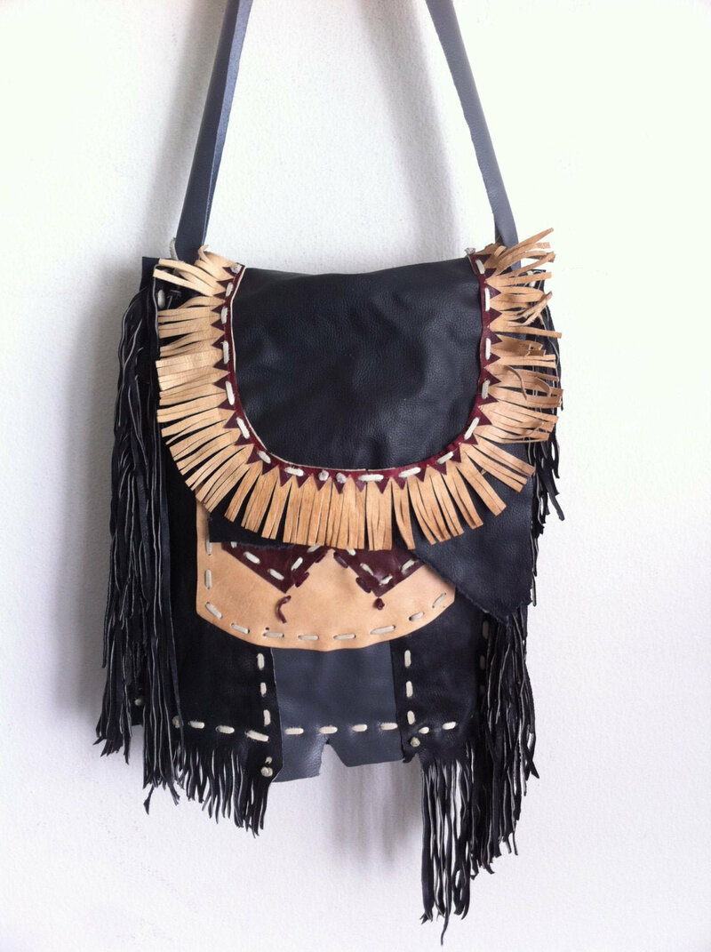 Buy Multicolored Women's Bag real soft leather fashionable handbag with leather fringe handmade bag designer bag streetstyle has size large.