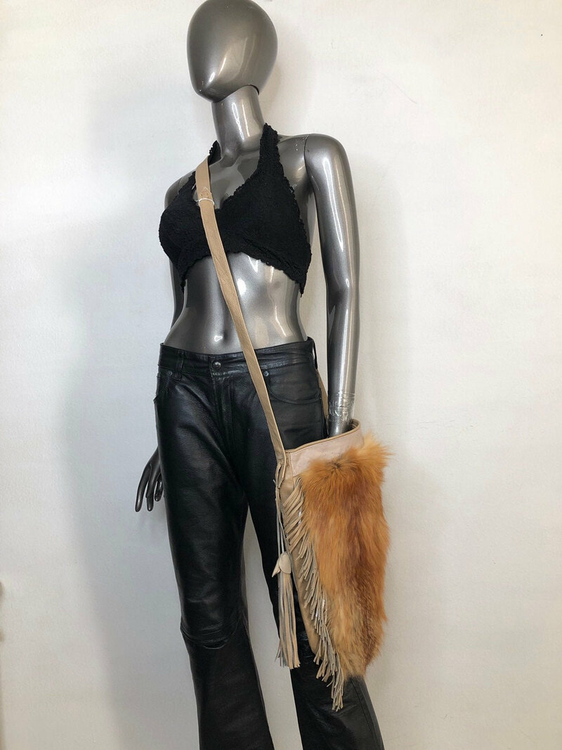 Buy Women's orange handmade handbag made of leather and red fox fur on a long handle with fringe and original details made in the USA.