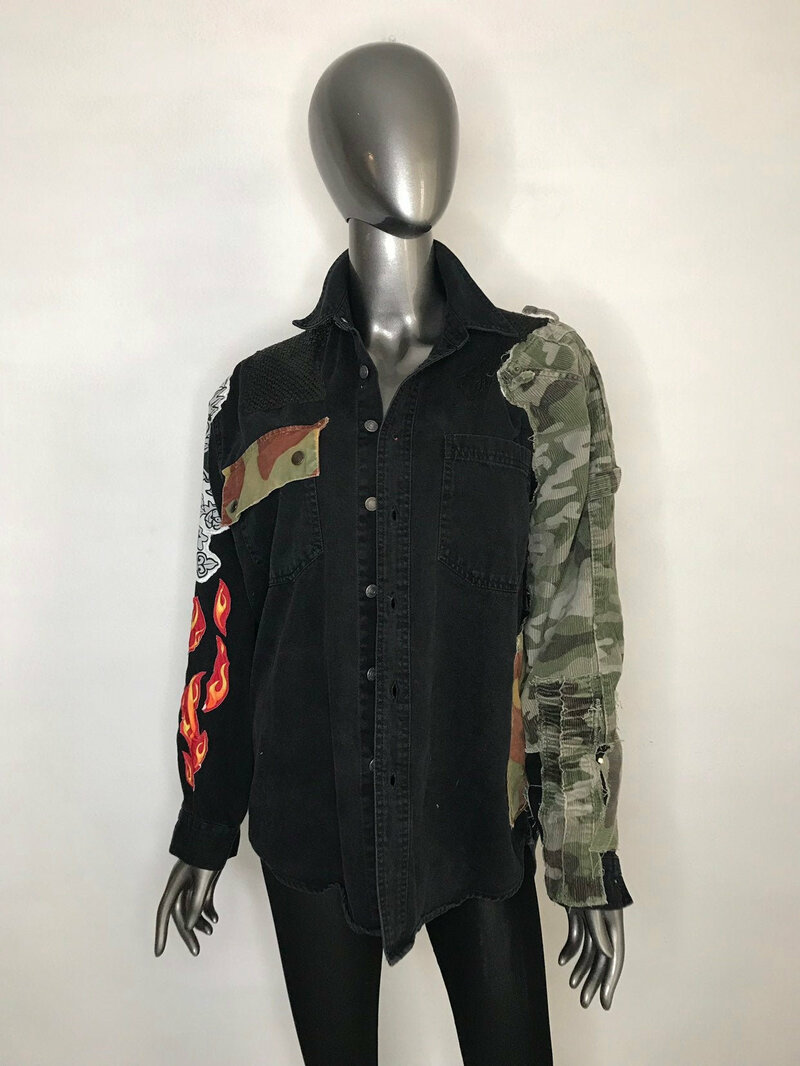 Buy Black men's jacket from cotton army style jacket decorated with patchwork handmade military style vintage jacket streetstyle size-medium.
