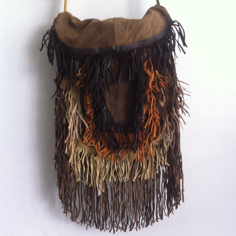 Buy Brown Womens Handmade Bag of Suede on a long handle fringe from multicolored leather.