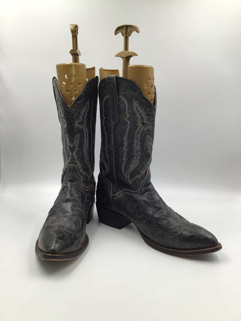 Buy Black men's boots from real leather vintage embroidered with unique print western style cowboy boots streetstyle retro style has size 15.
