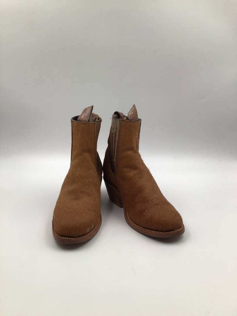 Buy Brown men's ankle boots from real cow fur vintage short boots streetstyle shoes steep ankle boots brown color has size men's 8, women's 9.