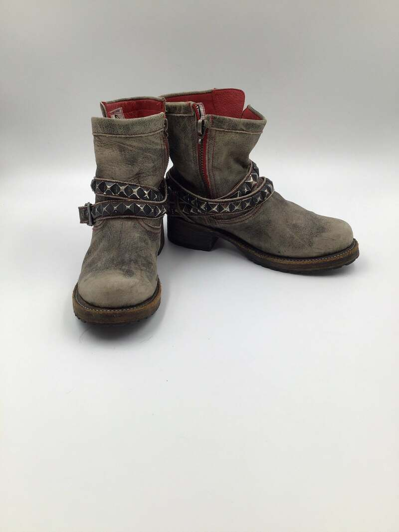 Buy Gray women's boots from real leather vintage style casual boots short boots fashionable streetstyle boots steep boots gray color has size 9.