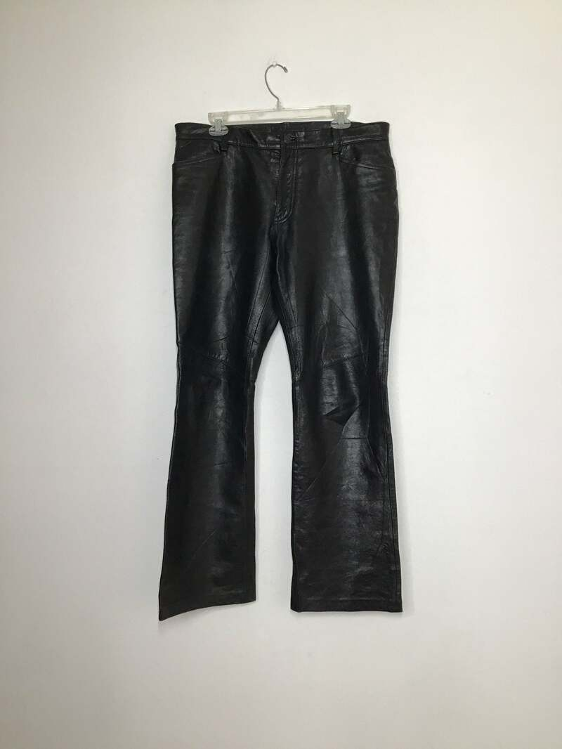 Buy Black Women's pants real leather soft leathe vintage pants motorcycle pants streetstyle pants rocker pants steep pants has size-medium.