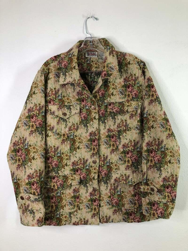 Buy Colored women's jacket real cotton classical jacket casual jacket vintage jacket fashionable jacket steep short jacket flowered size-medium.