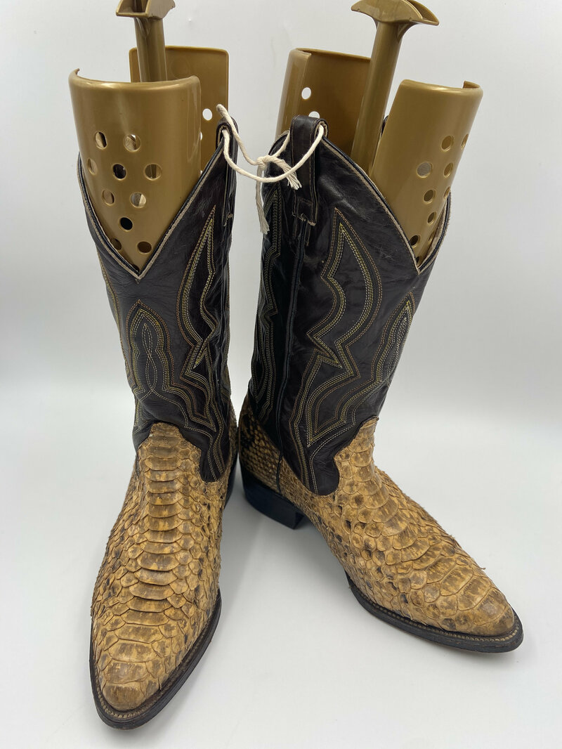 Buy Black men's boots from real python leather vintage embroidered with unique pattern western style cowboy boots streetstyle retro has size 9.