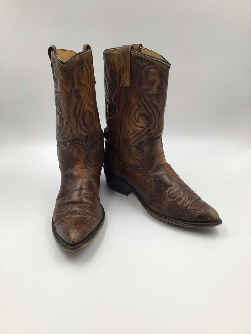 Buy Bright brown men's boots from real strong leather vintage embroidered with unique pattern short western style cowboy boots has size 11E.