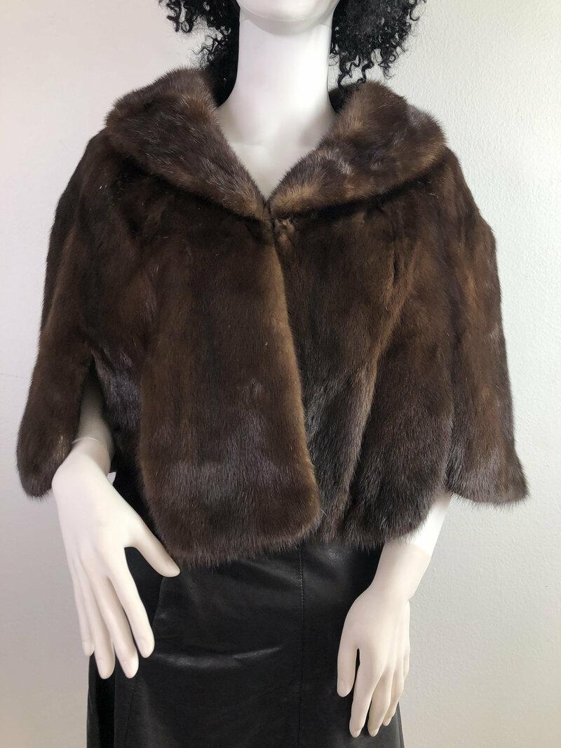 Buy Brown women's bolero real mink fur festive look cinema bolero vintage bolero theatre bolero retro collar for party weddings has size- small.
