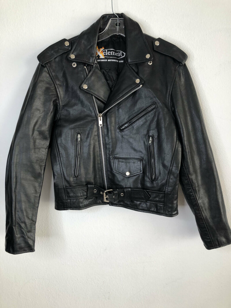 Buy Black men's jacket from real leather casual jacket short jacket motorcycle jacket vintage jacket rocker style steep jacket has size-medium.